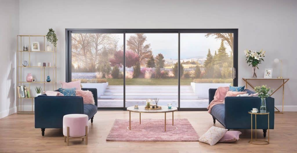 Origin OS-44 sliding door in a lounge with decking in front