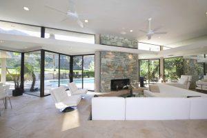 black floor to ceiling windows