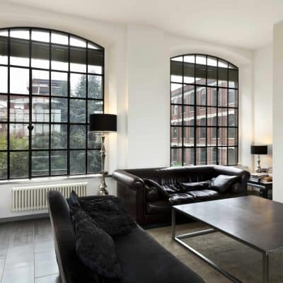 steel replacement windows in a modern lounge