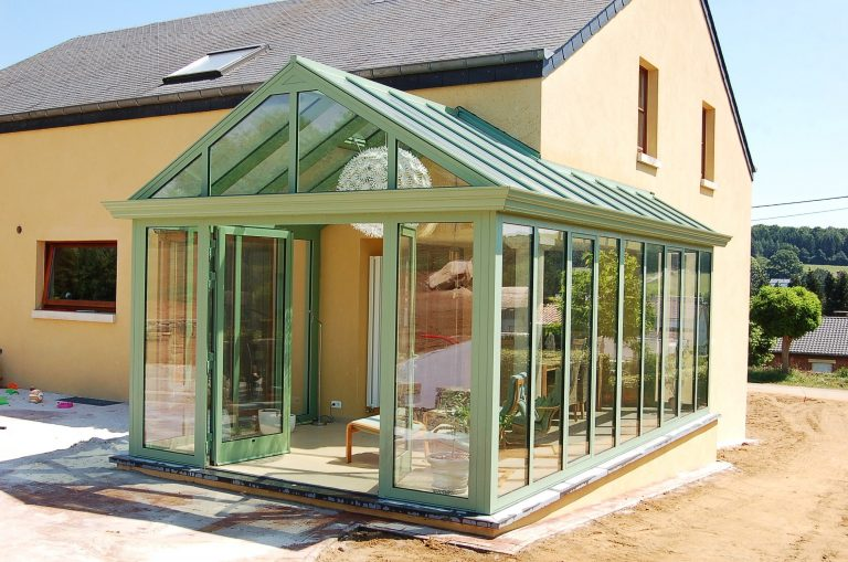 modern conservatory with Alitherm double doors at the front