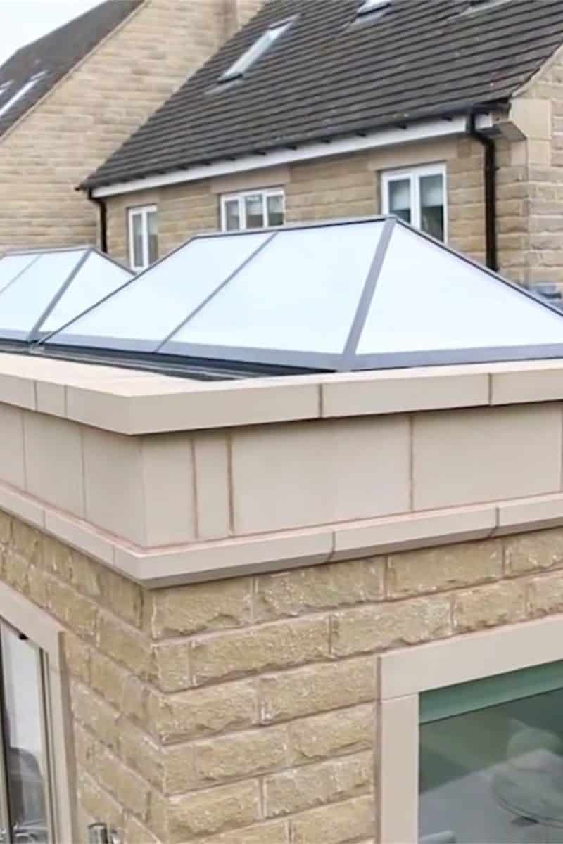 double lantern roofs in a stone extension