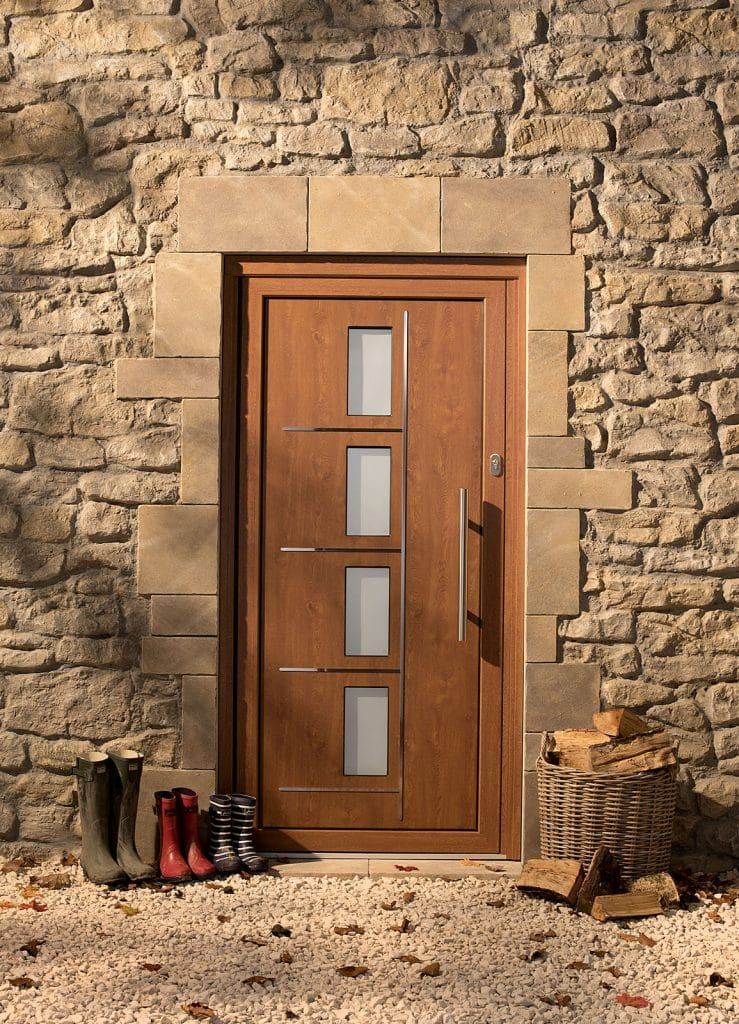 Origin front doors in a stone cottage