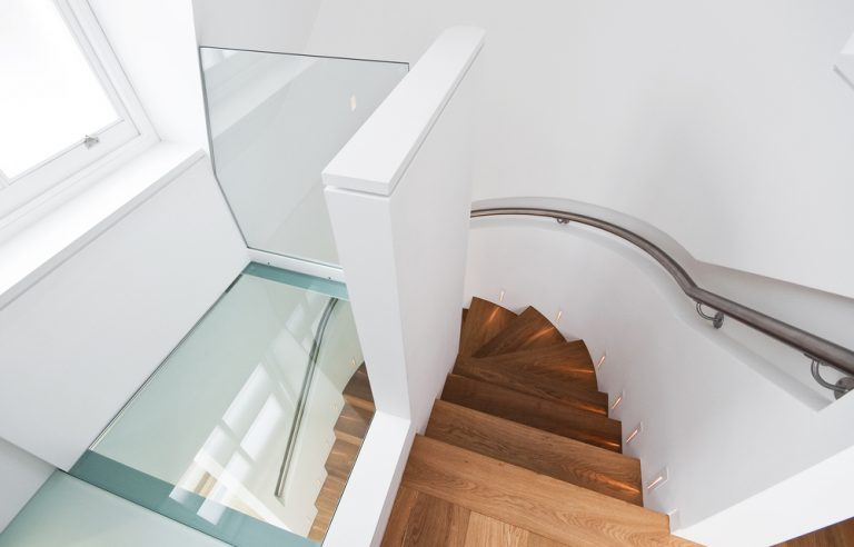walk-on glass inside a home staircase