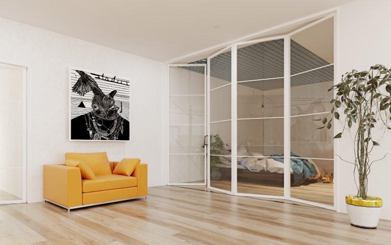 steel replacement bifolds as a room divider