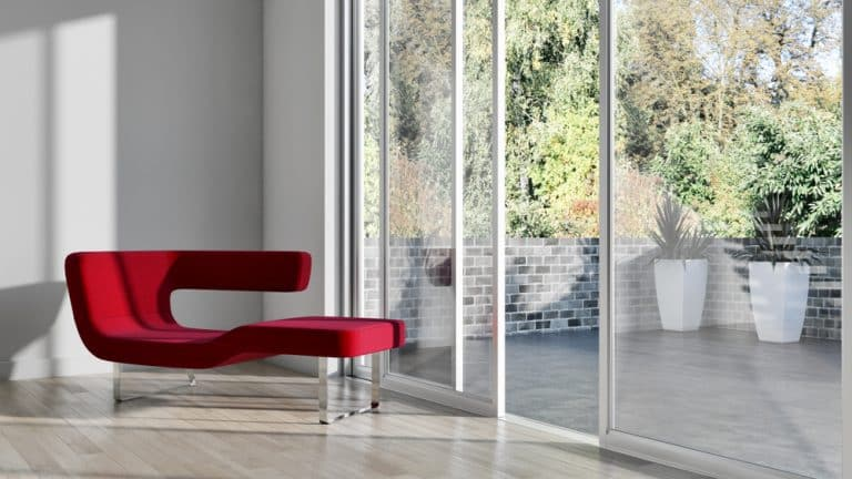 Schuco ASE60 sliding door in white colour
