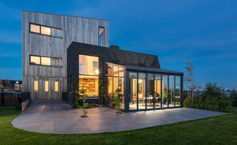 solarlux wintergarden glazed extension at night