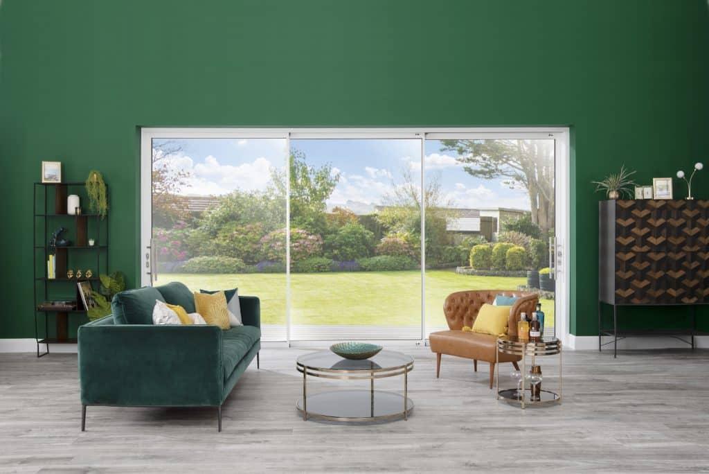 origin sliding doors in a new living room overlooking the garden