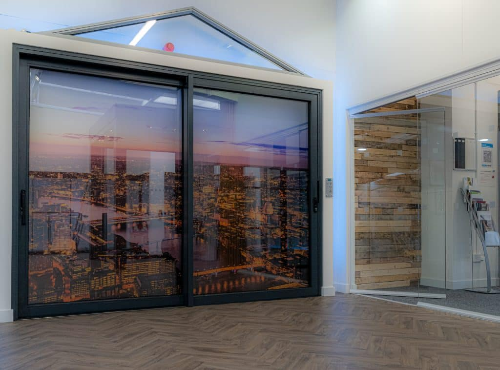 sliding door in FGC bespoke aluminium showroom