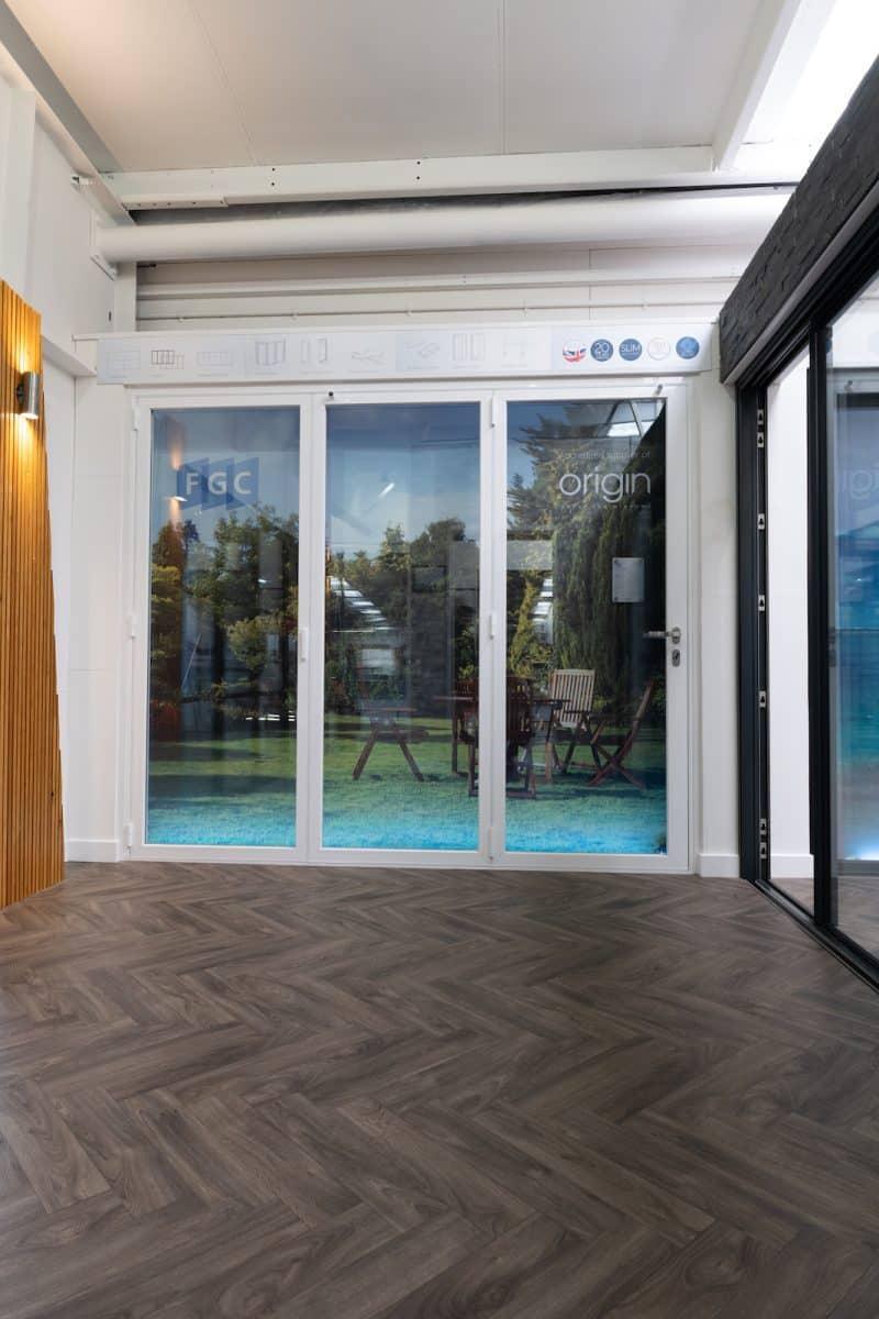 origin patio doors in a showroom