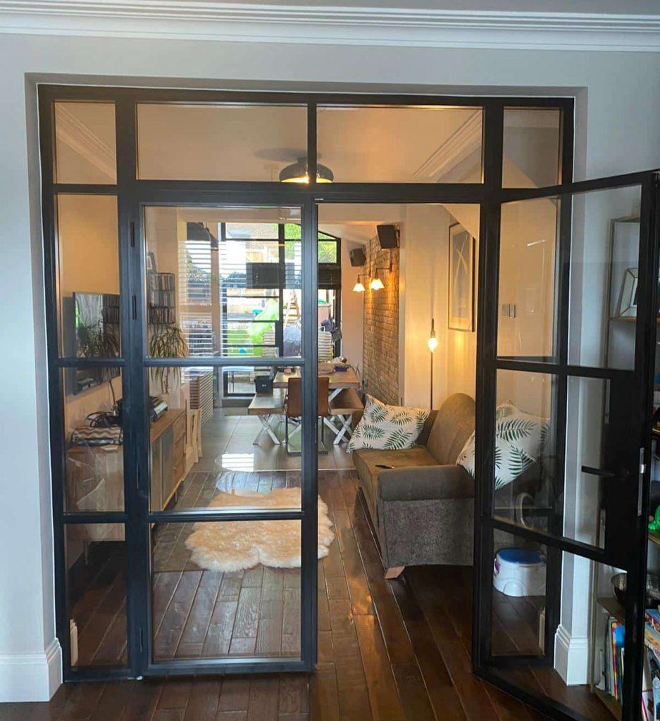 black steel look internal doors in a period house