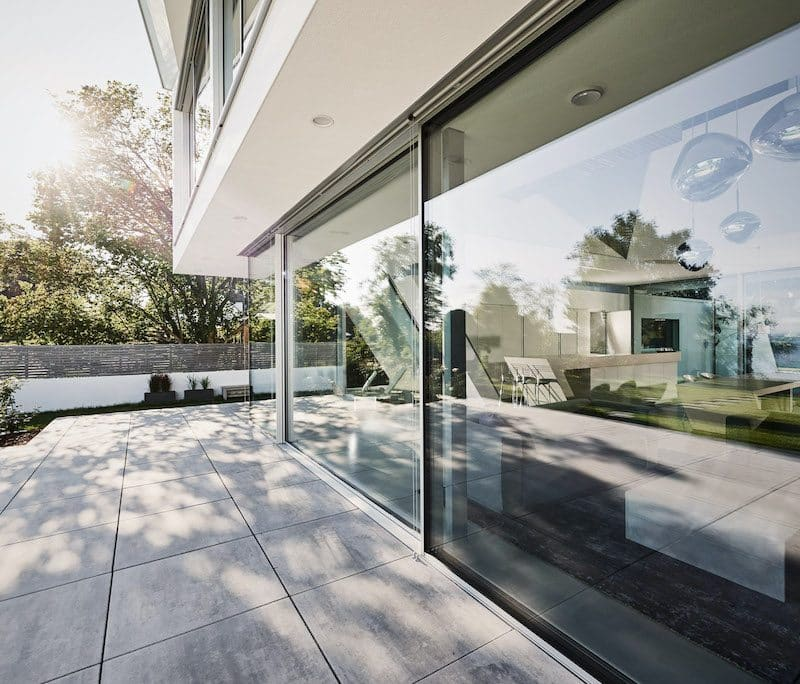 silver solarlux cero sliding doors in a contemporary house