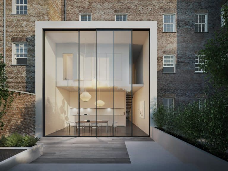 solarlux cero sliding doors 6m high in a box extension
