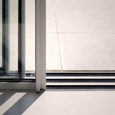 sliding door stacking panels in a silver patio door